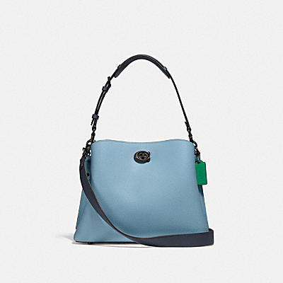 WILLOW SHOULDER BAG IN COLORBLOCK WITH SIGNATURE CANVAS INTERIOR