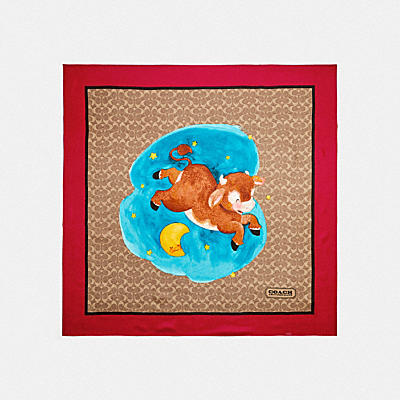 LUNAR NEW YEAR OX PRINT SILK SQUARE SCARF