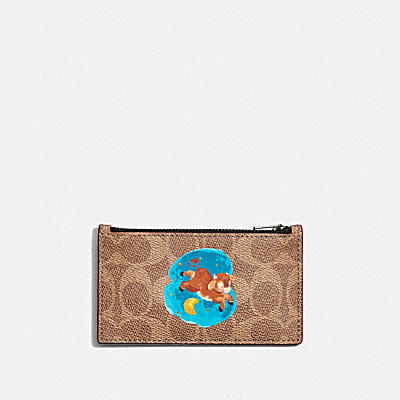 LUNAR NEW YEAR ZIP CARD CASE IN SIGNATURE CANVAS WITH OX