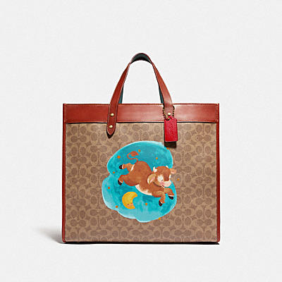 LUNAR NEW YEAR FIELD TOTE 40 IN SIGNATURE CANVAS WITH OX
