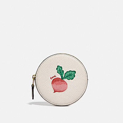 ROUND COIN CASE WITH EMBROIDERED RADISH MOTIF