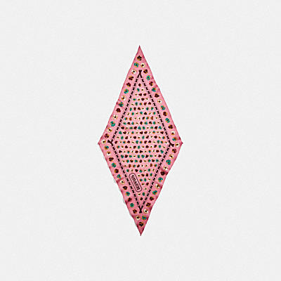 コーチ COACHのホワイトデーギフト |ペインテッド ティー ローズ フローラル プリント シルク ダイヤモンド スカーフ