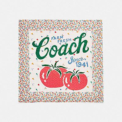 コーチ COACHの新作 |ガーデン パッチワーク プリント シルク スクエア スカーフ