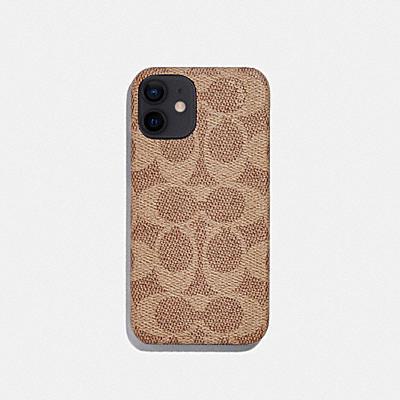 コーチ COACHの財布&革小物 |iPhone 12 mini ケース シグネチャー キャンバス