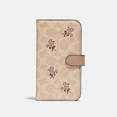 コーチ COACHの財布&革小物 |iPhone 12 & iPhone 12 Pro フォリオ シグネチャー キャンバス ウィズ フローラル ボウ プリント