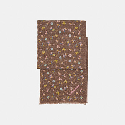 WATERCOLOR FLORAL PRINT SIGNATURE OBLONG SCARF