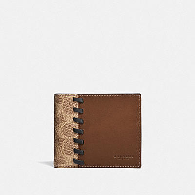 3-IN-1 WALLET IN BLOCKED SIGNATURE CANVAS WITH WHIPSTITCH