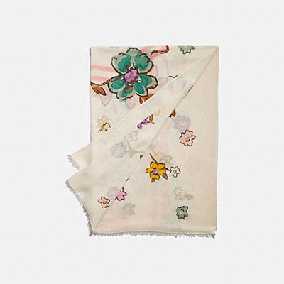 COACH BADGE FIELD FLORAL PRINT OBLONG SCARF