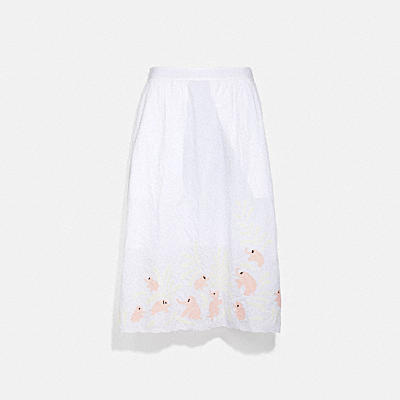 EMBROIDERED ELEPHANT SLIP SKIRT