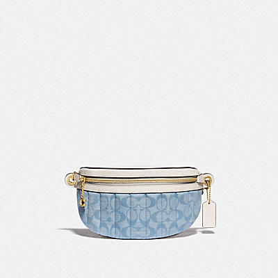經典 SIGNATURE CHAMBRAY 香布雷絎縫鏈條腰包