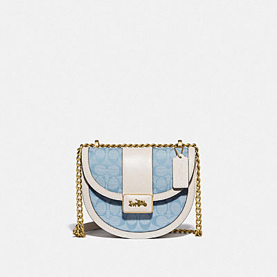 ALIE SADDLE BAG IN SIGNATURE CHAMBRAY
