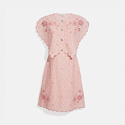 PRINTED SHORT BRODERIE ANGLAISE DRESS