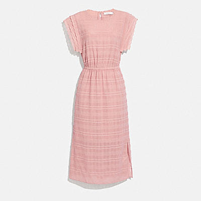 SHOULDER PLEAT MIDI DRESS