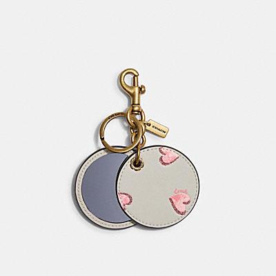MIRROR BAG CHARM WITH HEART PRINT