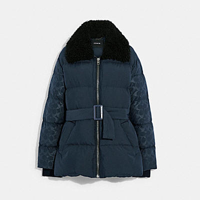 BELTED PUFFER IN RECYCLED NYLON