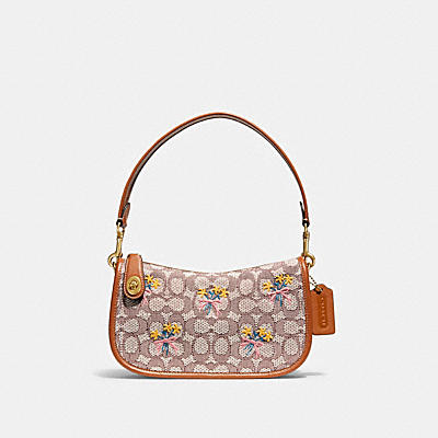 SWINGER BAG IN SIGNATURE TEXTILE JACQUARD WITH BOUQUET MOTIF EMBROIDERY
