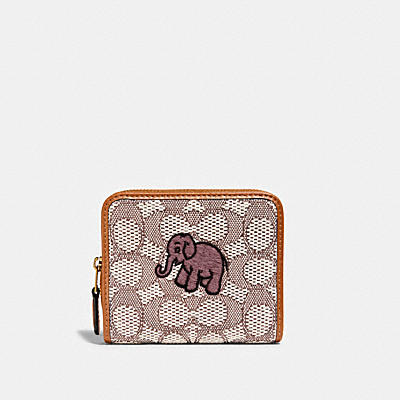 BILLFOLD WALLET IN SIGNATURE TEXTILE JACQUARD WITH ELEPHANT MOTIF EMBROIDERY