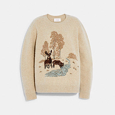 PILLED PRINTED LANDSCAPE SWEATER