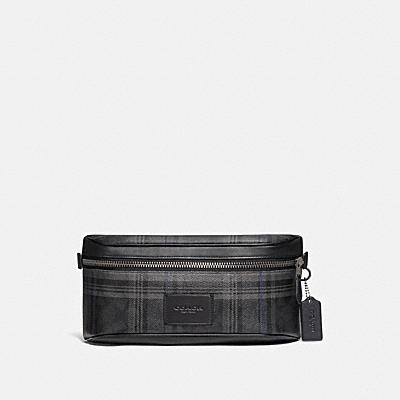 WESTWAY BELT BAG IN SIGNATURE CANVAS WITH PLAID PRINT