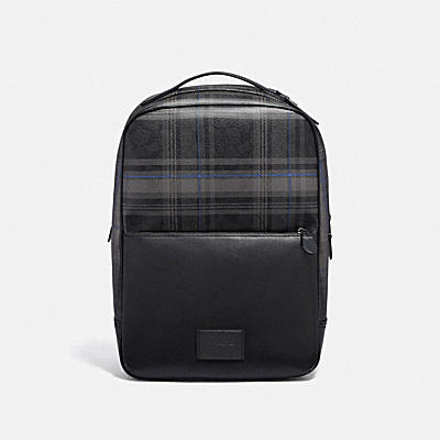WESTWAY BACKPACK IN SIGNATURE CANVAS WITH PLAID PRINT