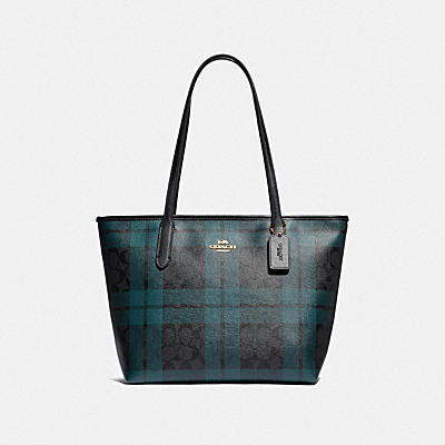 ZIP TOP TOTE IN SIGNATURE CANVAS WITH FIELD PLAID PRINT