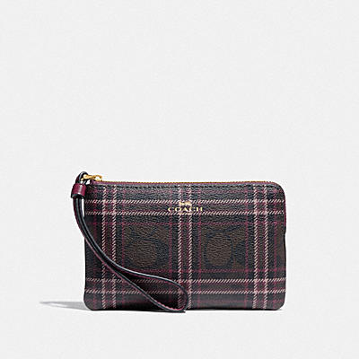 CORNER ZIP WRISTLET IN SIGNATURE CANVAS WITH SHIRTING PLAID PRINT
