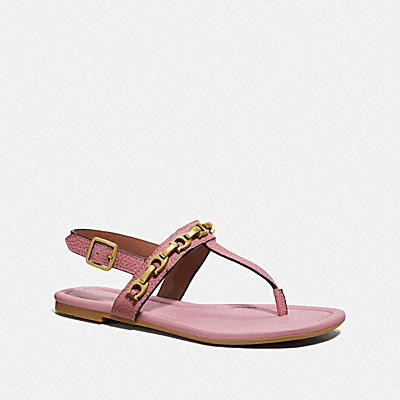 Jenna Sandal With Signature Chain- Rocky Leather