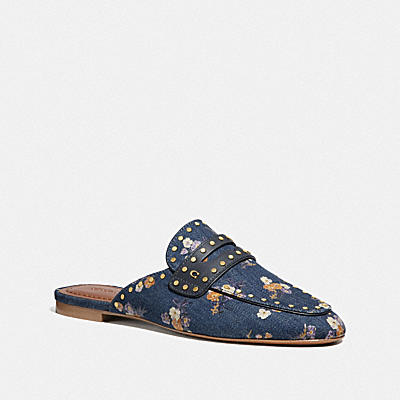 Faye Loafer Slide With Painted Floral Bow- Denim