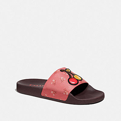 Udele Sport Slide- Floral Bow Print With Cherries