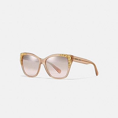 ASIAN FIT METAL TEA ROSE SQUARE SUNGLASSES