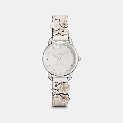 DELANCEY 花卉貼飾皮革腕錶