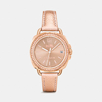 TATUM ROSE GOLD TONE LEATHER STRAP WATCH