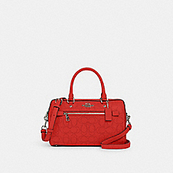 ROWAN SATCHEL IN SIGNATURE LEATHER - 1006 - QB/MIAMI RED
