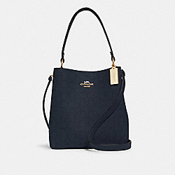 TOWN BUCKET BAG IN SIGNATURE LEATHER - 1008 - IM/MIDNIGHT/ROSE
