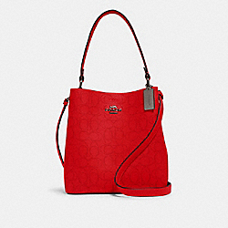 COACH 1008 - TOWN BUCKET BAG IN SIGNATURE LEATHER QB/MIAMI RED BLACK