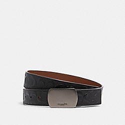 COACH 101 - PLAQUE BUCKLE CUT-TO-SIZE REVERSIBLE BELT, 38MM QB/BLACK/DARK SADDLE