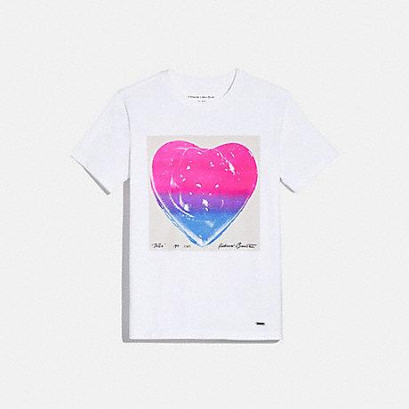 COACH COACH X RICHARD BERNSTEIN PINK AND BLUE JELLO HEART T-SHIRT - WHITE. - 1056