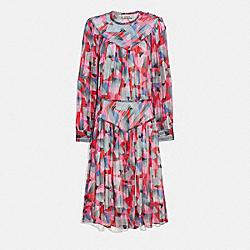 BOLD GEO YOKE DRESS - RED/PINK - COACH 1066