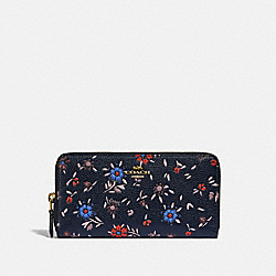 ACCORDION ZIP WALLET WITH WILDFLOWER PRINT - 1072 - B4/MIDNIGHT NAVY MULTI