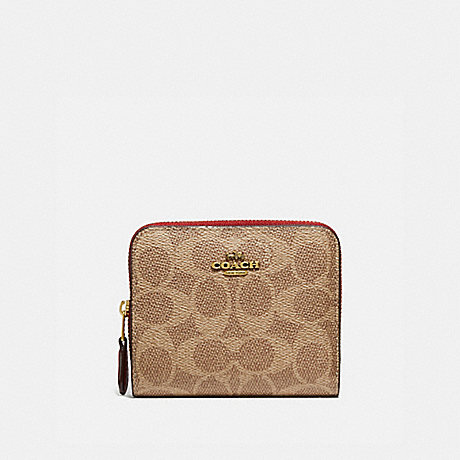 COACH BILLFOLD WALLET IN SIGNATURE CANVAS - B4/TAN RED APPLE - 1076