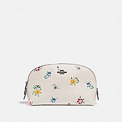 COSMETIC CASE 17 WITH WILDFLOWER PRINT - 1084 - PEWTER/CHALK