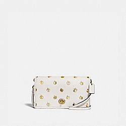 HAYDEN FOLDOVER CROSSBODY CLUTCH WITH APPLE PRINT - 1090 - BRASS/CHALK MULTI
