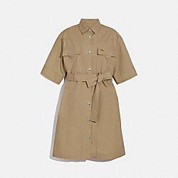 SHORT SLEEVE SAFARI SHIRT DRESS - LIGHT BEIGE - COACH 1110