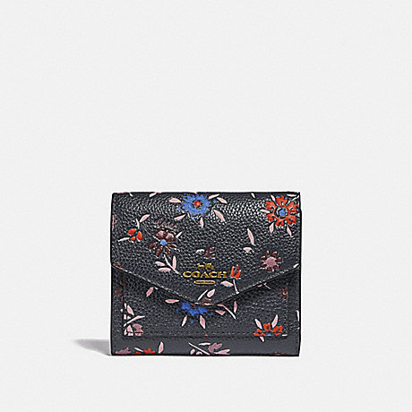 COACH SMALL WALLET WITH WILDFLOWER PRINT - B4/MIDNIGHT NAVY MULTI - 1131