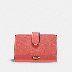 COACH 11484 - MEDIUM CORNER ZIP WALLET IM/BRIGHT CORAL