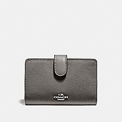 COACH 11484 Medium Corner Zip Wallet SV/HEATHER GREY
