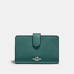 COACH 11484 Medium Corner Zip Wallet SV/DARK TURQUOISE