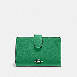 COACH 11484 Medium Corner Zip Wallet SV/SHAMROCK