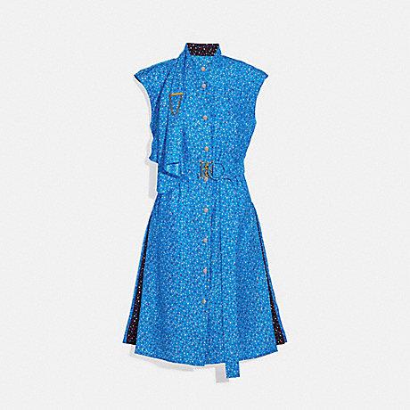 COACH 1166 DOT SLEEVELESS DRESS WITH BELT BLUE/PINK