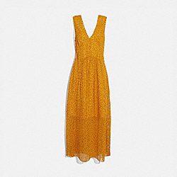 SLEEVELESS DOT PRINT V-NECK DRESS - YELLOW/BLUE - COACH 1169